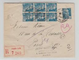 1948 - ENVELOPPE RECOMMANDEE De PARIS XVII Avec BLOC DE 6 GANDON - Postmark Collection (Covers)