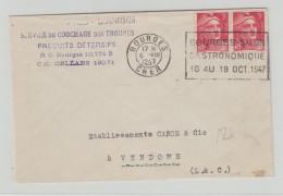 """1947 - ENVELOPPE De BOURGES (CHER) Avec MECA """"BOURGES SALON GASTRONOMIQUE 16 AU 19 OCT. 1947"""" Sur GANDON - Marcophilie (Lettres)"""