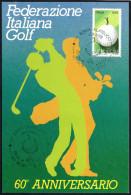 ITALIA ROMA 1988 - 60° ANNIVERSARIO FEDERAZIONE ITALIANA GOLF - MAXIMUM - CARTOLINA UFFICIALE CON ANNULLO FDC - Golf