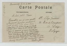 1919 - CARTE FM Avec CACHET HOPITAL COMPLEMENTAIRE 43 De DOUARNENEZ (FINISTERE) - Guerra Del 1914-18