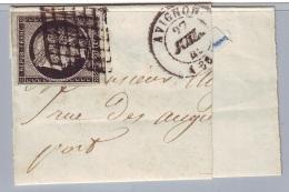 20 C Cérès Noir/blanc YT N° 3a - Sur Fragment - 1849-1850 Cérès