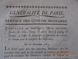 Circulaire Généralité De Paris 20/09/1783 Suppression Fourniture Voitures/chevaux Pour Le Transport Des Déserteurs - Documents