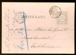 HANDGESCHREVEN BRIEFKAART Uit 1893 GELOPEN Van KLEINRONDSTEMPEL ZIERIKZEE  Naar ENKHUIZEN  *  NVPH 33 (10.454a) - Periode 1891-1948 (Wilhelmina)