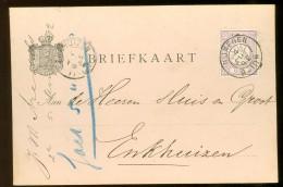 HANDGESCHREVEN BRIEFKAART Uit 1892 GELOPEN Van KLEINRONDSTEMPEL NIJMEGEN Naar ENKHUIZEN *  NVPH 33 (10.454e) - Periode 1891-1948 (Wilhelmina)