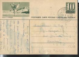 Suisse, Entier-postal Illustré N° 182-0121  (Eislauf In Arosa) Obl: 01/02/1952 - Patinage Artistique