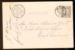 HANDGESCHREVEN BRIEFKAART Uit 1895 GELOPEN Van KLEINRONDSTEMPEL DE RIJP  Naar ENKHUIZEN *  NVPH 33 (10.454m) - Periode 1891-1948 (Wilhelmina)