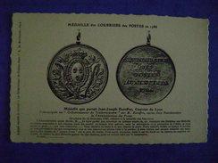 CP POSTE & FACTEURS - MEDAILLE DES COURRIERS DES POSTES EN 1786- MEDAILLE QUE PORTAIT J.J. EXCOFFON-COURRIER DE LYON - Post & Briefboten