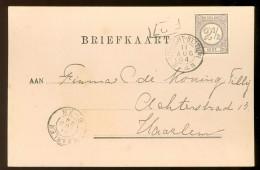 HANDGESCHREVEN BRIEFKAART Uit 1894 GELOPEN Van KLEINRONDSTEMPEL UTRECHT-STATION 1 U  Naar ENKHUIZEN *  NVPH 33 (10.454y) - Brieven En Documenten