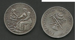 Landwirschaftliche Sibermedaille Estland PETSERI Landwirtschaftlicher Verein - Pièces écrasées (Elongated Coins)