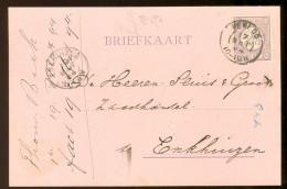 HANDGESCHREVEN BRIEFKAART Uit 1894 GELOPEN Van KLEINRONDSTEMPEL VENLOO  Naar ENKHUIZEN *  NVPH 33 (10.455d) - Periode 1891-1948 (Wilhelmina)