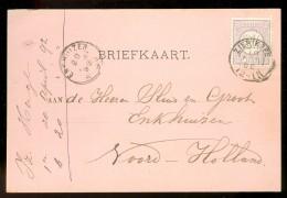 HANDGESCHREVEN BRIEFKAART Uit 1892 GELOPEN Van KLEINRONDSTEMPEL ZIERIKZEE  Naar ENKHUIZEN *  NVPH 33 (10.455o) - Periode 1891-1948 (Wilhelmina)