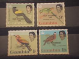 GAMBIA - 1963 UCCELLI 4 VALORI, Soprast. - NUOVI(++) - Gambie (...-1964)