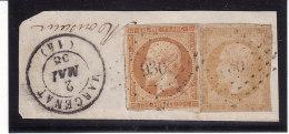 France 1853 - N° 13Ab Et 13A - Oblitération PC 930 + C. à Date Marcenat (14) Sur Fragment - Marcophily (detached Stamps)