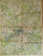 Wanderkarte Für Das Ausflugsgebiet 10'000 Quadratkilometer Um Berlin - 1:200'000 46cm X 60cm - Topographische Karten