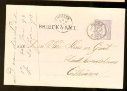 HANDGESCHREVEN BRIEFKAART Uit 1893 GELOPEN Van KLEINRONDSTEMPEL HOORN Naar ENKHUIZEN  NVPH 33 *  (10.458h) - Periode 1891-1948 (Wilhelmina)