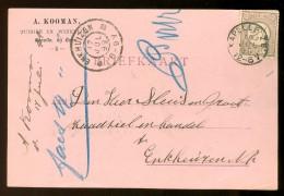 HANDGESCHREVEN BRIEFKAART Uit 1899 GELOPEN Van KLEINRONDSTEMPEL KAPELLE Z.B. Naar ENKHUIZEN  NVPH 33 *  (10.458i) - Periode 1891-1948 (Wilhelmina)