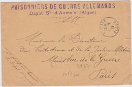 Lettre Franchise Militaire 1915 Prisonniers De Guerre Allemands Depots D'aumale Alger - Oorlog 1914-18