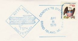 1978 Grand Island USA  COVER KITTY HAWK 75th Anniv AIRCRAFT EVENT  Pmk  Stamps Aviation Flight - Airplanes