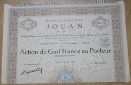 ACTION  ETABLISSEMENT JOUAN PARIS 100FRS 30.06.1925 - Actions & Titres