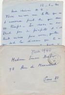 Lettre Franchise Militaire Cachet Poste Aux Armées 13/6/1940 - WW II