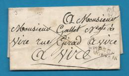 Manche - Mortain Pour Vire (Calvados). LAC De 1826. Indice Pothion 15 - Postmark Collection (Covers)
