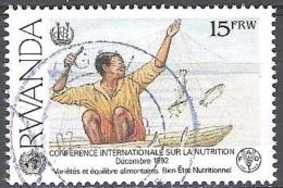 Rwanda 1995 Michel 1453A O Cote (2005) 1.20 Euro Pêcheur Cachet Rond - Rwanda