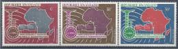 1967 RWANDA PA 1-3** Union Africaine, Telecommunications, Carte - Poste Aérienne