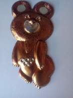 Vintage 1980 Original Moscow Olympic Games LARGE BIG SIZE Metal Misha Bear Rare - Apparel, Souvenirs & Other