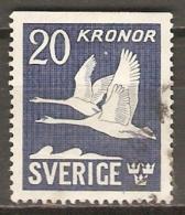SUEDE   -   Aéro.    1953   Y&T N° 7 A Oblitéré .  Oies Sauvages En Vol.
