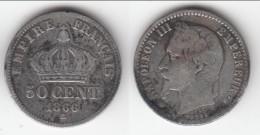 **** 50 CENTIMES 1866 BB STRASBOURG - NAPOLEON III - ARGENT **** EN ACHAT IMMEDIAT !!! - France