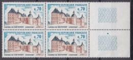 N° 1596 Château De Hautefort : 1 Bloc De 4  Timbres Neuf Impéccable Sans Charnière - Neufs