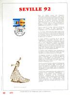 Feuillet D´art Tirage Limité 500 Exemplaires Frappe Or Fin 23 Carats 2448 Séville 92 Danse Exposition Universelle - Panes