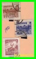KOREA   - 3 SELLOS  DEL  AÑO 1952 - Korea (...-1945)