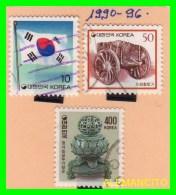 KOREA   -   3  SELLOS  DEL  AÑO 1990-96 - Corea (...-1945)