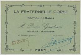 Corse Document Ancien Maroc Rabat La Fraternelle Corse - Documents