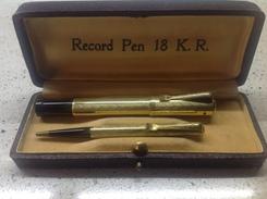 RECORD PEN 18 K.R. ANNI '30 Penna Stilo + Lapis Placcati Oro , Con Astuccio - Penne