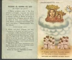 CAL1/2-- CALENDARIETTO,  1951,  MADONNA DELL'ARCO, NAPOLI. - Calendriers