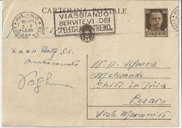 RE43) CP Tipo Del 1932/33 - 1942  30 Cent Annullo A Targhetta Da Milano Per Pesaro - 1900-44 Vittorio Emanuele III