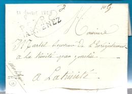 Finistère - Douarnenez Pour La Trinité Par Josselin (Morbihan). LAC De 1829 En Port Payé. Indice 18= 300euros.RR - Marcophilie (Lettres)