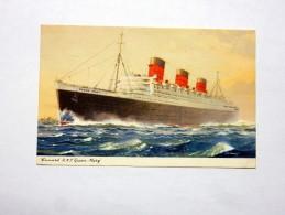 "Carte Postale Ancienne : Cunard R.M.S. ""Queen Mary"", 1962 - Dampfer"