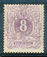 Belgique N° 29, 8c Violet, Lion Couché, Sans Gomme, Cote Obl/used 58e - 1869-1888 Leone Coricato