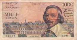 1000 Francs RICHELIEU Du 6.12.56.K.301, Qualité TTB /505 - 1871-1952 Circulated During XXth