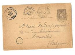 HTES PYRENEES ( 63 ) – BAGNERES DE BIGORRECPE Ordinaire - Tarif UPU « BELGIQUE » à 10c. (1.4.1879/31.3 - Cartoline Postali E Su Commissione Privata TSC (ante 1995)