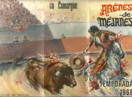 13 MEJANES PROGRAMME PUBLICITE TEMPORADA 1968 CORRIDA COURSE LIBRE COCARDE TAUREAUX CAMARGUE RICARD - Programs