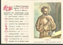 CAL9/10---  CALENDARIETTO,  1962,  MISSIONI FRANCESCANE, ROMA. - Calendriers