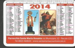 CAL27/28---  CALENDARIETTO,   2014,  PARROCCHIA SANTA MARIA ASSUNTA,  RECALE, CASERTA. - Calendarios