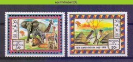 Mmg411 FAUNA VOGELS OLIFANT ZEBRA KAT CAT MAMMAL ELEPHANT GIRAFFE LION CHEETAH BIRDS DEER MAP O.A.U. LIBERIA 1979 PF/MNH - Non Classificati