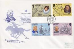 = Jersey Commémoration Du Bi-centenaire Des USA Enveloppe 1er Jour 4 Timbres 29 Mai 1976 - Indipendenza Stati Uniti