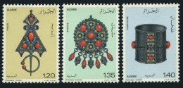 Algeria 1978 Art Jewelry Fibula Pendant Ankle Ring Craft Gold Silver Gems Minerals Stamps MNH SC 621-623 Michel 731-733 - Minerals