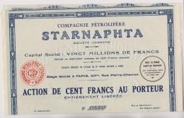 Starnaphta  Compagnie Petrolifere Action De 100 Francs - Actions & Titres